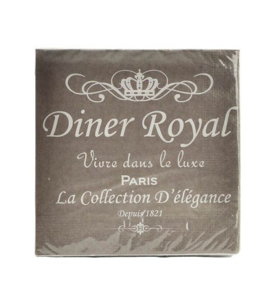 SET 20 SERVILLETAS PAPEL BEIGE DINER ROYAL