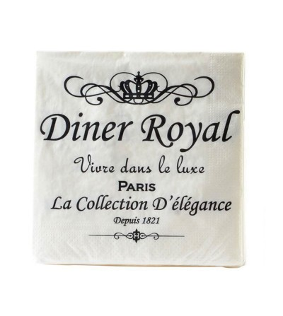 SET 20 SERVILLETAS PAPEL BLANCAS DINER ROYAL