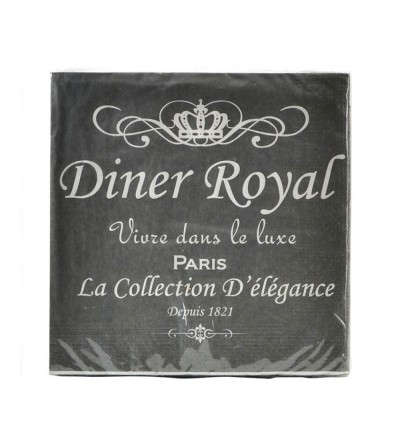 SET 20 SERVILLETAS PAPEL GRIS DINER ROYAL