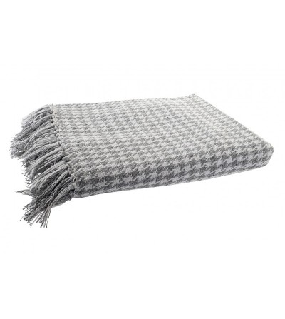 MANTA PLAID ALGODÓN PATA GALLO GRIS FLECOS